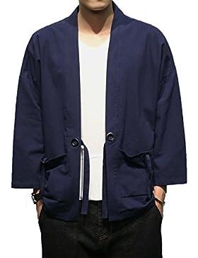[Patrocinado]Mirecoo - Abrigo - capa - Básico - cuello mao - manga 3/4 - para hombre