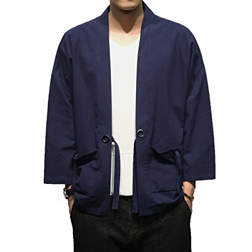 Mirecoo Herren Baumwolle Japan Happi Kimono Haori Jacke Übergangsjacke (Kleidung Kimono Japanische)