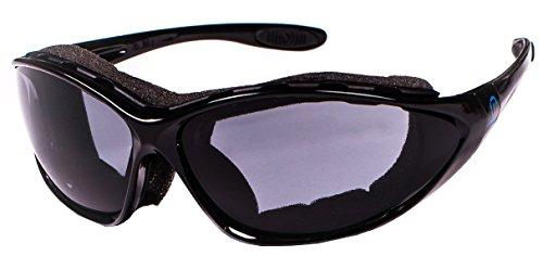 Nexi Skibrille Black Mamba- multifunktions Sportbrille, Fahrradbrille, Skibrille Herren und Damen - Wechselscheiben, Bügel-und Kopfband, Etui + Beutel