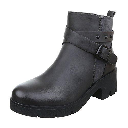 Komfort Schlupfstiefel Used Blockabsatz Damen Grau Optik Reißverschluss Stiefeletten Schuhe npXnZzR