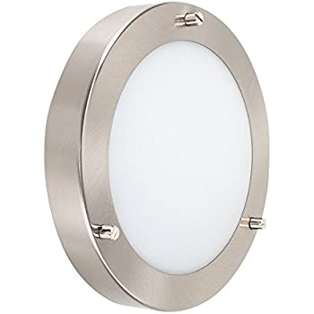 Modern Silver Chrome And Glass Flush Mini Bathroom Ceiling Light