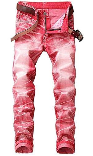 Emmay Herren Bull Tuch Cowboy Baumwolle Modisch Ssig Wesentlich Farbe Rbt Gerade Schlank Hosen Jeans Nlichkeit Hle Original Klassisch Gezeitenmarke Jeans (Color : Rot, Size : 30) - Paper Denim Tuch