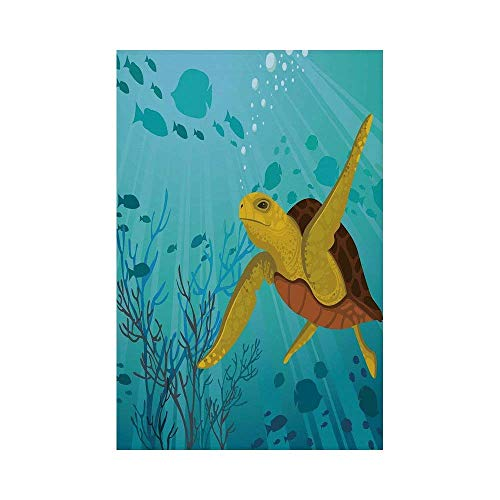 Liumiang Eco-Friendly Manual Custom Garden Flag Demonstration Flag Game Flag,Turtle,Cartoon Cute Animal Under The Sea Silhouettes of Fish Sun Rays Coral,Turquoise Mustard Brownec d¨¦COR