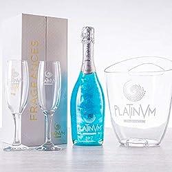 Pack espumoso Platinvm n7 de Piña y Coco + estuche de lujo + cubitera + dos copas - ideal regalo Navidad, cumpleaños, San Valentín, día de la madre, aniversario, boda