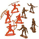 Pack of 10 - Plastic Cowboys & Indians Figures - Great Wild West Party Loot Bag Fillers