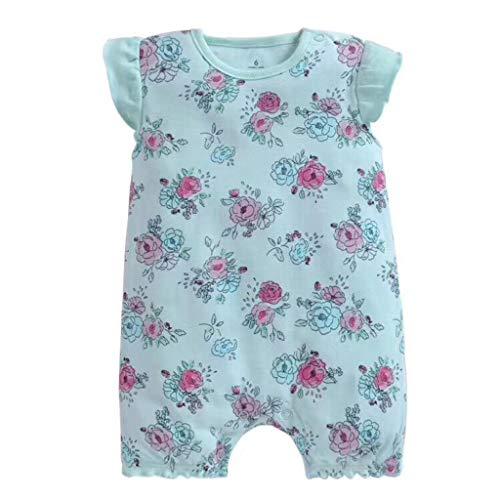 Livoral Baby Madchen Kleidung Set Baby-Säuglingsmädchen-Jungen-Einteiler-Karikatur-gestreifte Druckspielanzug-Bodysuit-Kleidung(Minzgrün,6M)
