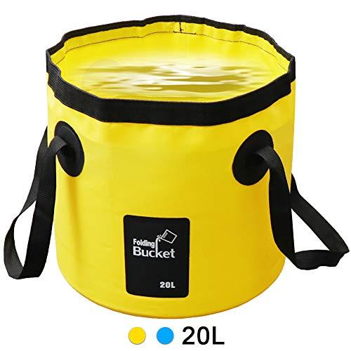 LIVEHITOP Falteimer Faltschüssel 20L - Tragbarer Faltbarer Eimer Wasserträger Wasserkanister für Camping, Angeln, Picknick, Outdoor, Yellow -