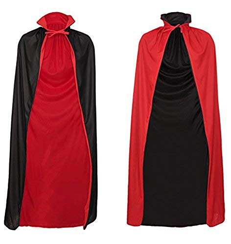Custom Hero Kostüm - ShineGown Schwarz und Rot Halloween Cape Umhang Kapuzenmuetze Reversible Unisex Devil Vampire Wizard Lange Erwachsene Kinder Cosplay Cloaks Fairytale Hero Kostuem Robe Masquerade