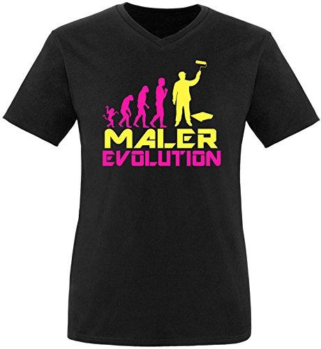 EZYshirt® Maler Evolution Herren V-Neck T-Shirt Schwarz/Pink/Gelb