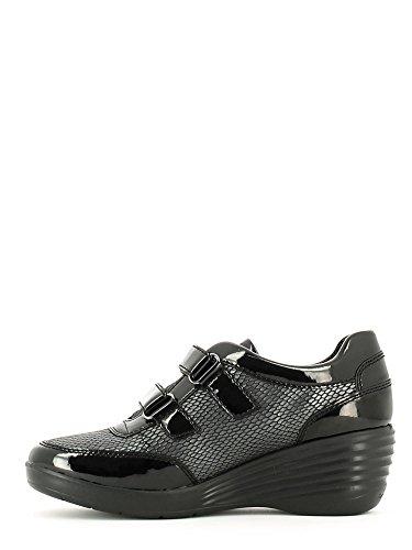 Stonefly Ebony 107406 scarpe donna sneakers nere con zeppa e velcro Nero