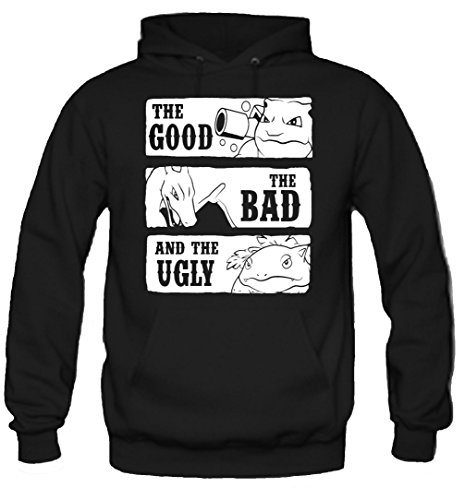 The Good the Bad and the Ugly Pokemon Kapuzenpullover | Manga | Männer | Herren | Baumwolle | Go | Comic | Anime | Pokemon (L, Schwarz) - Mega-mewtu-mega-glurak