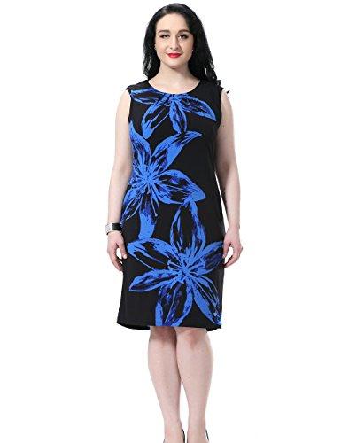 Stretch Denim Tank Dress (Chicwe Damen Kleid Große Größen aufgedruckte Blumen auf den Ärmeln 54, Blau/Schwarz)