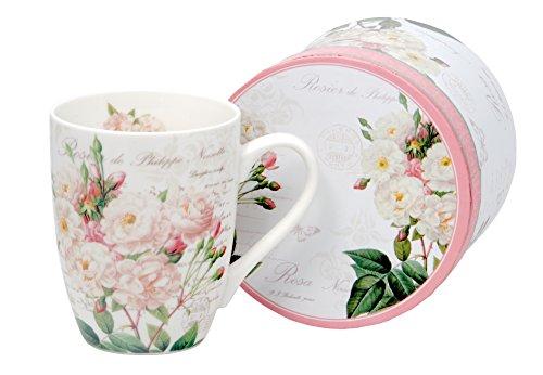 Kaffeebecher Kaffeetasse Tasse groß weiß Motiv Blumen Porzellan Teetasse große Geschenktasse Rosentasse Trinkbecher Mug Cup 320 ml von DUO Set mit Geschenk Box (White Rose) White Rose Tasse