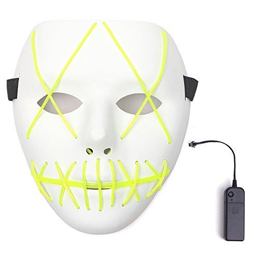 ske Halloween Cosplay LED Kostüm Maske El Draht Leuchtmaske für Festpartys (Grün) (Es Ist Der Clown Kostüm Für Halloween)