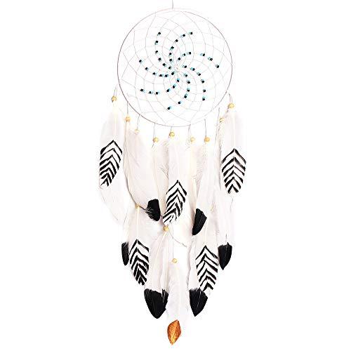 SUDADY-Home Atrapasueños con Lighting Hecho a Mano Blancas Plumas Perfecto Regalo de cumpleaños Sencillo y Moderno para traerte luz y Esperanza
