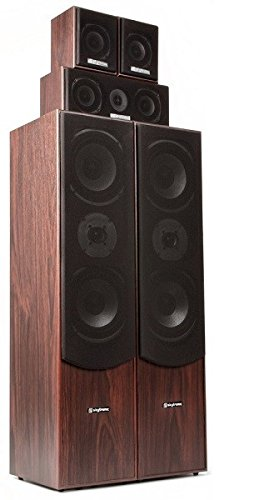 Skytronics 100.333 5.0Kanäle 335W Schwarz, Walnuss, Holz Lautsprecherset - Lautsprechersets (5.0 Kanäle, 335 W, Heimkino, 360 W, 20 - 20000 Hz, 6 Ohm) (Front-lautsprecher-heimkino)