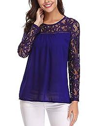 80133424ad Abollria Camisa Elegante de Mujer con Bordado y Pizzo Blusa Manga Larga  Pullover Ligero para Primavera