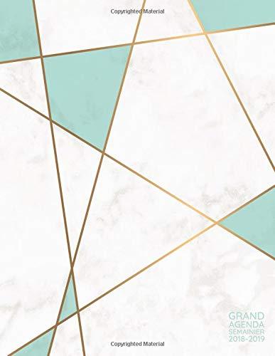 Grand Agenda Semainier 2018-2019: Agenda Scolaire de Juillet 2018 à Août 2019, Semainier simple & graphique, idéal prise de rendez-vous, marbre et vert par YesOuiPages