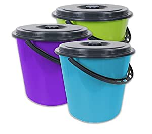 eimer mit deckel 5 liter kunststoff lebensmittelecht 3 farbig sortiert 3 st ck k che. Black Bedroom Furniture Sets. Home Design Ideas