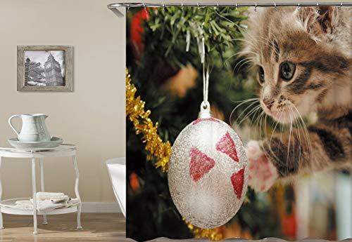 CaknQizawyy Grüner Weihnachtsbaum Silber Weihnachtskugel 1 braunes Kätzchen Wasserdicht und umweltfreundlich HD-Gürtelhaken waschbarer Duschvorhang für Badezimmer