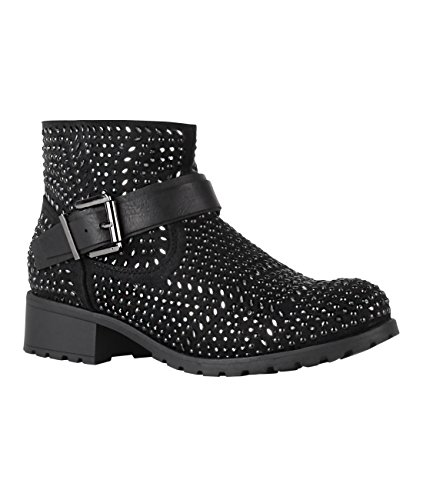763fd47c1f8817 Damen Stiefeletten Blockabsatz Biker Boots mit Nieten Winter Schuhe Bequem  Schwarz