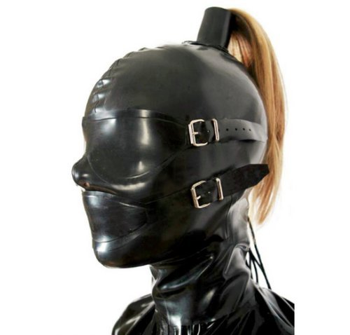 Latex Kopfmaske Hood Fetish Kostüme Erotik Restrictions Abnehmbare Maske für Augen und Mund