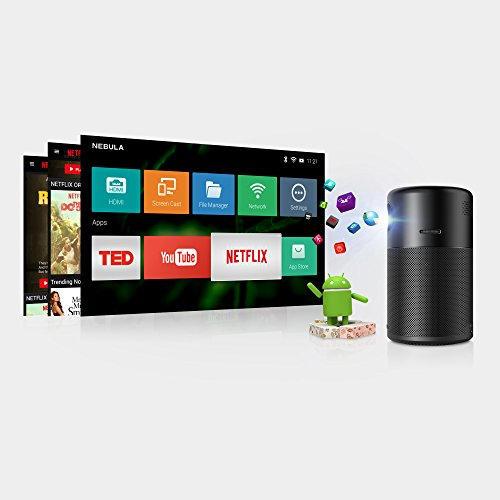41nEmUgSygL. SS500  - NEBULA Anker Capsule, Smart Wi-Fi Mini Projector, Black, 100 ANSI Lumen Portable Projector, 360° Speaker, Movie Projector, 100 Inch Picture, 4-Hour Video Playtime, Neat Projector, Home Entertainment