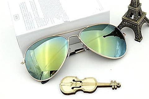 Pilotenbrille Fliegerbrille verspiegelt Bunt Goldrand Silberrand Männer Damen Unisex Pornobrille (Grün Gold)