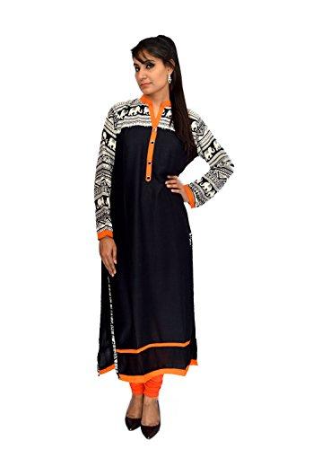 BPT Black Rayon Pakistani Long Kurta (L)