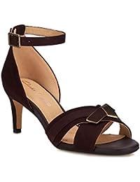 4c0e46f1774 Clarks Womens Purple Suede  Amali Ice  Mid Kitten Heel Ankle Strap Sandals