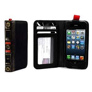Alienwork Schutzhülle für iPhone SE/5/5S/5C vintage Brieftasche Hülle Case Leder schwarz AP507-01