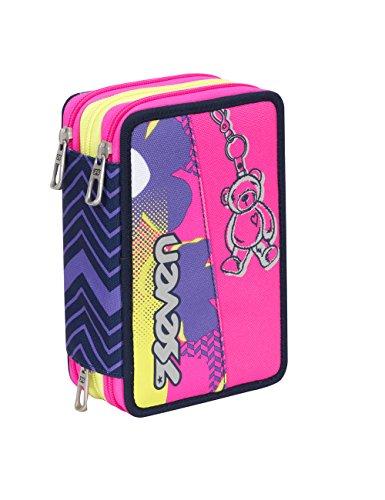 Astuccio scuola seven - sunflower - 3 scomparti - pennarelli matite gomma ecc.. rosa viola