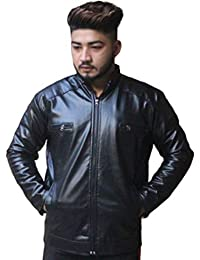 Men PU Faux Leather Jacket Black