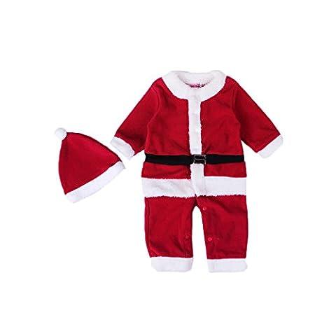 Bébé Noël Barboteuse Hat Set,Feicuan Infant Manches longues Santa Claus rouge Costume 0-24 Months