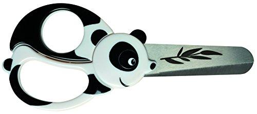 Fiskars Forbici per bambini a forma di panda, A partire da 4 anni, Lunghezza: 13 cm, Per destrorsi e mancini, Lama in acciaio inossidabile/Impugnature in plastica, Bianco/Nero, 1004613