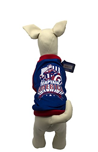 (Marvel Comics Avengers Assemble T-Shirt für Hunde, klein blau und rot Captain America Tee für alle Kleine Hunde)