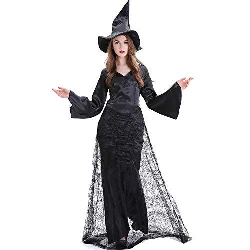 GLXQIJ Frauen Halloween Hexe Kostüm Party Cosplay Kleid Plus Size, Spiderweb Langen Rock, Beinhaltet Kleid & Hut,Black,M