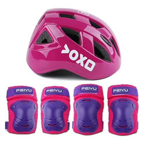 FF Kinder 7 Stück Outdoor Sports Schutzausrüstung Set Jungen Mädchen Fahrradhelm Sicherheits-Pads Set [Knie- & Ellbogenschützer Und Handgelenkschoner] (Farbe : Pink)