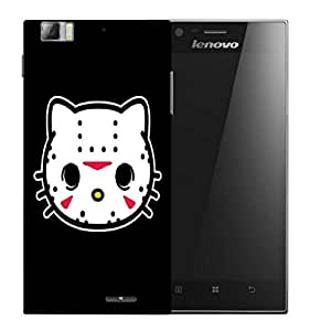 Snoogg White Cat Face Designer Protective Back Case Cover For LENOVO K900