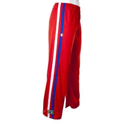 JL Sport Authentiques Brésilien Capoeira Arts Martiaux Pantalons pour Hommes (Rouge avec Verticales Bleu Et Blanc du Dos des Rayures) - L