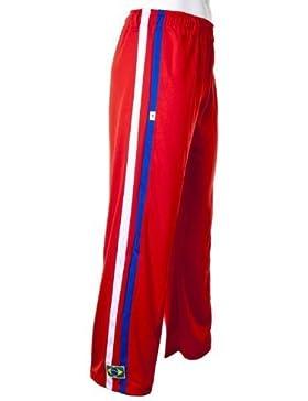 Unisex Rojo Brasil Capoeira Artes Marciales Abada Elástico Pantalones 5 Tallas (S)