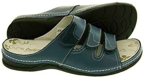 Footwear Studio Womens Cuir Velcro Sandales pour femmes mince Plat confortable Chaussures SZ Taille 45678 Bleu Marine