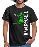 Joueur De Handball À L'Attaque T-Shirt Homme, M, Noir