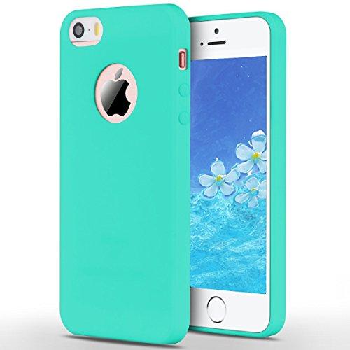 2pcs Apple iphone 5 Coque Protection écran Soft Case silicone flexible TPU en silicone flexible Housse de protection en silicone antidérapante Slim Fit avec couleur Candy Solaxi (Rose + bleu foncé) Bleu