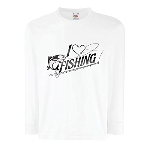 lepni.me Kinder-T-Shirt mit Langen Ärmeln Ich Mag Fischen - Fischer Geschenk, für Fisch Liebhaber Zitate, Witz Hobbys Humor (9-11 Years Weiß Mehrfarben) (Bio-baumwolle V-neck Hoodie)