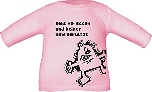 Baby / Kinder T-Shirt langarm mit Druck Gebt mir ESSEN und keiner wird verletzt / Größe 60 - 152 in 6 Farben Rosa