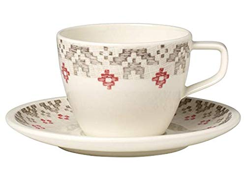 Villeroy & Boch Artesano Montagne Tasse à café avec Assiette, 2 pièces, Premium Porcelaine, Multicolore