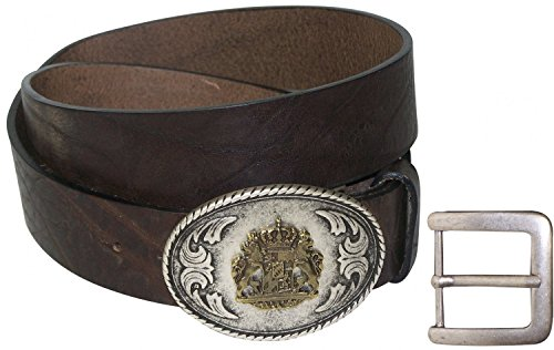 8fd0651661e1 Fronhofer Ceinture pour costume traditionnel allemand 100% cuir naturel à l écusson  de la