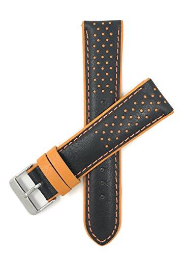 Bandini 20mm Schwarz und Orange Herren Leder Uhrenarmband, Perforiert, Stil Gt Rally