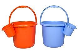 Saurabh Shaktiman Unbreakable Bucket & Mug Combo (Orange & Blue)
